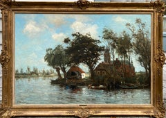 River Scene with Village Church (Large)
