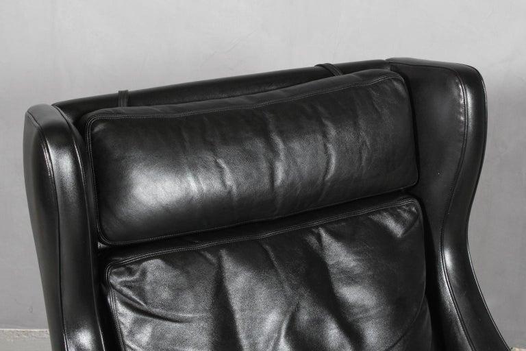 Scandinavian Modern Frederik Kayser Wingback Chair, Rosewood and Leather, Norway