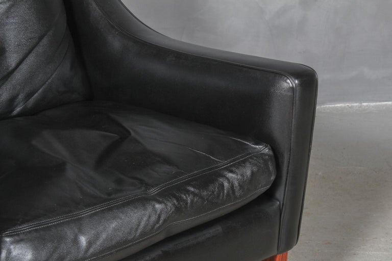 Frederik Kayser Wingback Chair, Rosewood and Leather, Norway In Good Condition In Esbjerg, DK