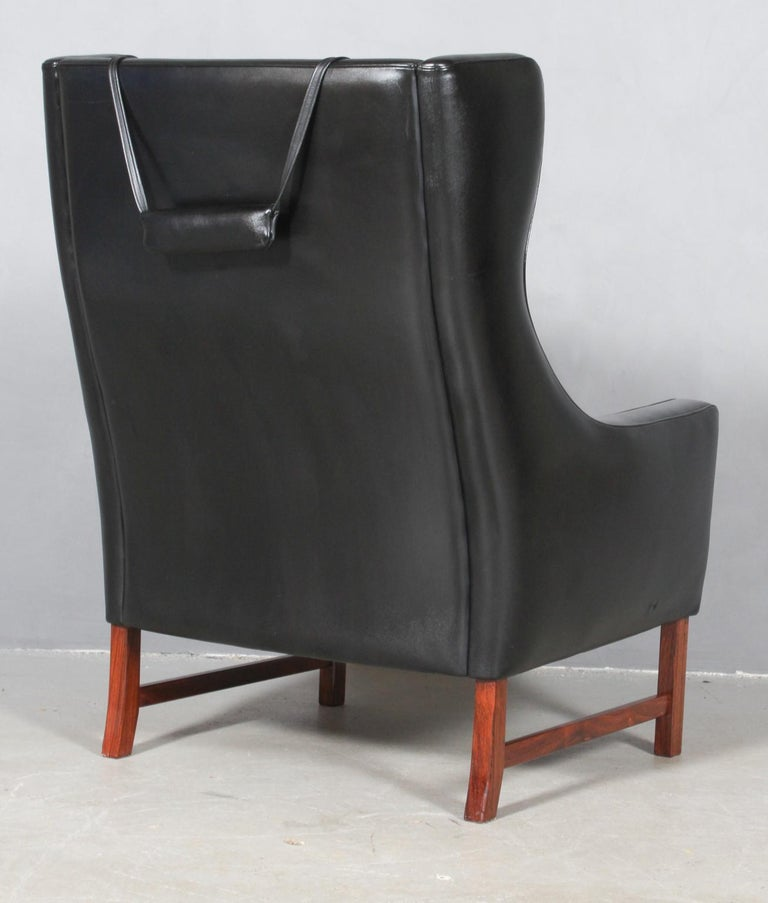 Mid-20th Century Frederik Kayser Wingback Chair, Rosewood and Leather, Norway