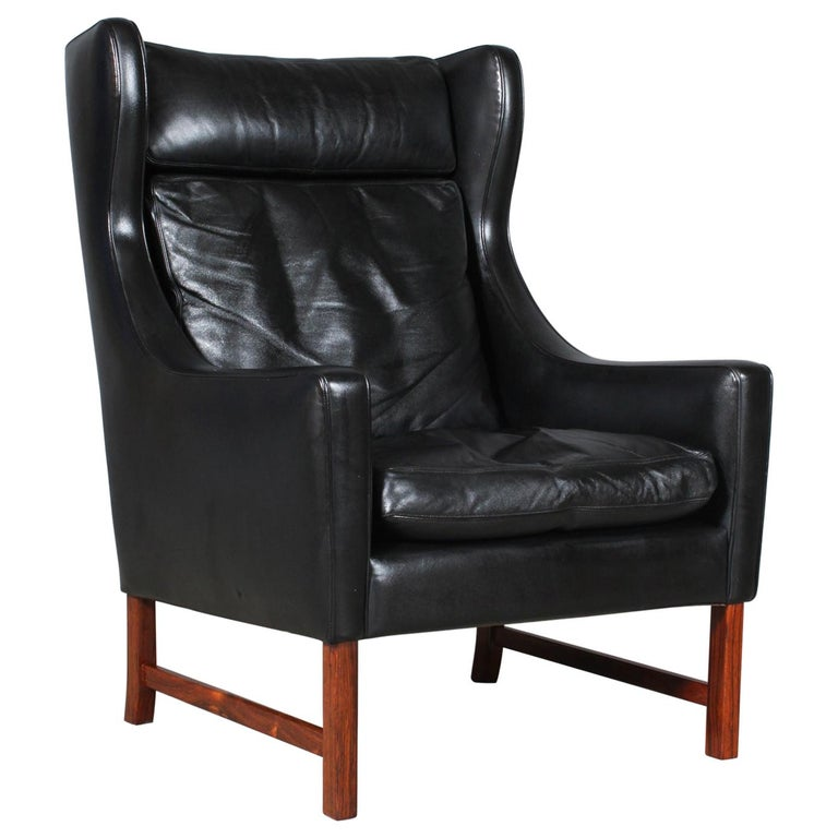 Frederik Kayser Wingback Chair, Rosewood and Leather, Norway