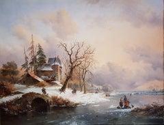 19th Century Painting 'Snowy Landscape' Frederik Marinus Kruseman  (1816-1882)