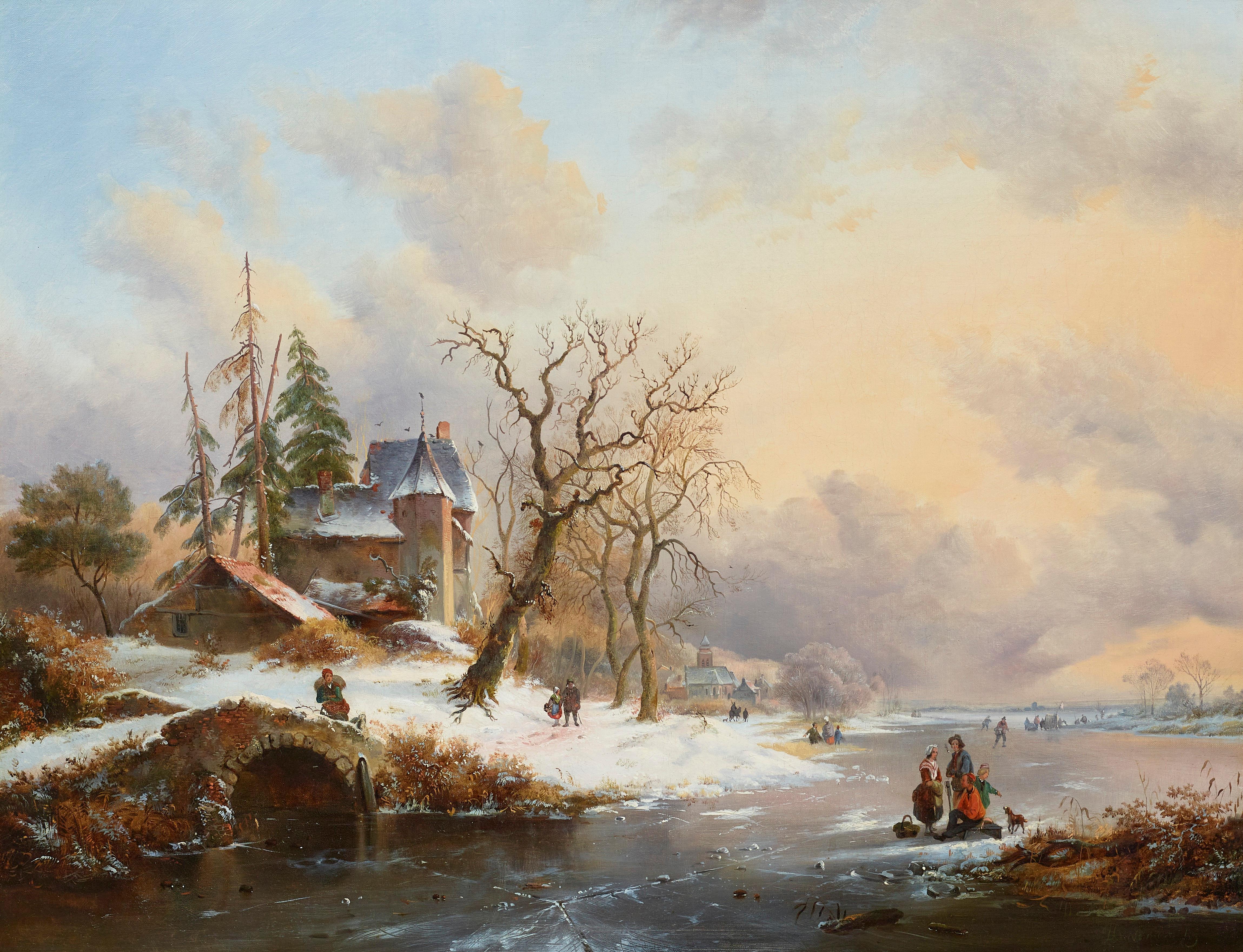 19th Century Winter Skating Scene 'Snowy Landscape' Frederik Marinus Kruseman