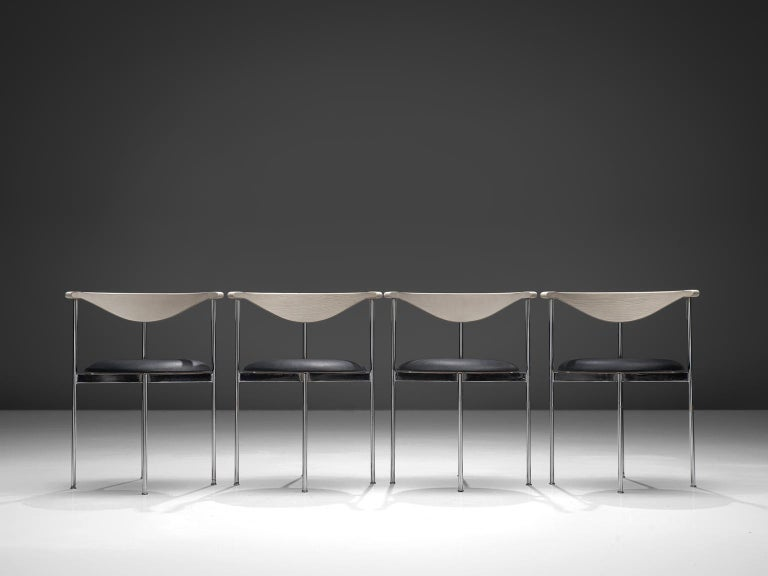 Danish Frederik Sieck Set of Dining Chairs in Chrome and Leatherette For Sale