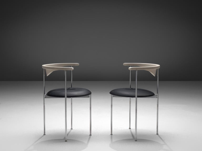 Frederik Sieck Set of Dining Chairs in Chrome and Leatherette In Good Condition For Sale In Waalwijk, NL