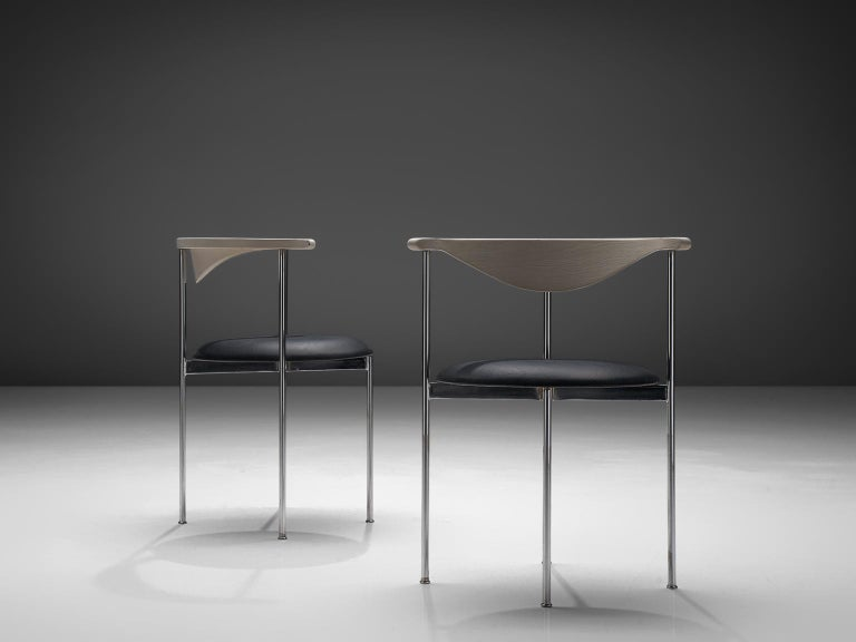 Mid-20th Century Frederik Sieck Set of Dining Chairs in Chrome and Leatherette For Sale