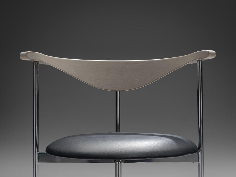 Metal Frederik Sieck Set of Dining Chairs in Chrome and Leatherette For Sale
