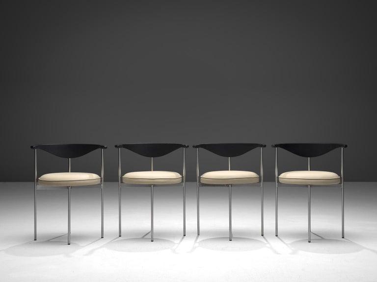 Frederik Sieck for Fritz Hansen, four chairs, white skai, metal, black painted wood, steel, Denmark, design 1962, execution, 1967.  This industrial clear set of the model 3200 chairs was designed by the Swedish designer Sieck for Fritz Hansen. The