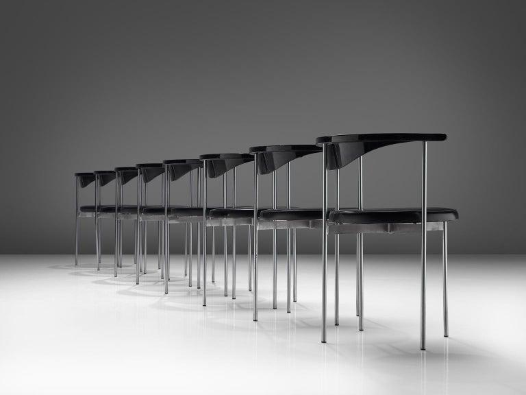 Scandinavian Modern Frederik Sieck Set of Ten Black Dining Chairs For Sale