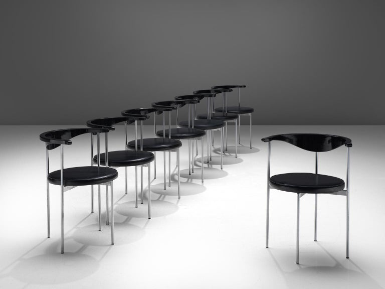 Danish Frederik Sieck Set of Ten Black Dining Chairs For Sale