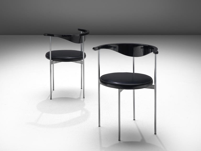 Frederik Sieck Set of Ten Black Dining Chairs In Good Condition For Sale In Waalwijk, NL