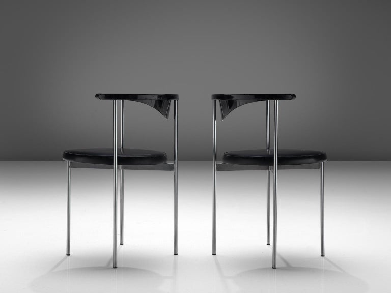 Mid-20th Century Frederik Sieck Set of Ten Black Dining Chairs For Sale