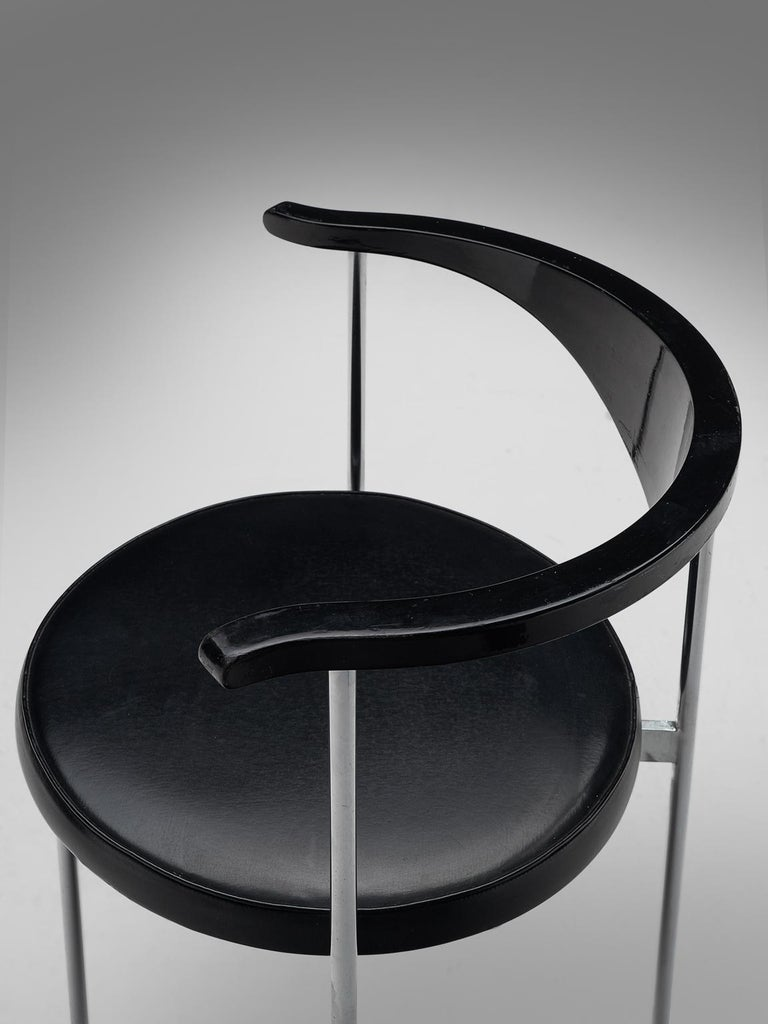 Metal Frederik Sieck Set of Ten Black Dining Chairs For Sale