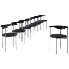 Frederik Sieck Set of Ten Black Dining Chairs