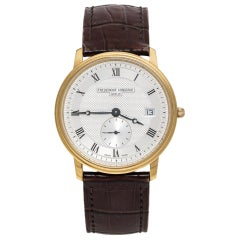 Frederique Constant Silver Yellow  Stainless Steel Leather Men's Wristwatch 37MM