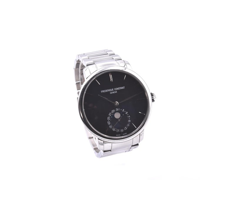 Movement: automatic Function: hours, minutes, moon phase Case: 42mm stainless steel case, sapphire crystal, smooth bezel Band: stainless steel bracelet Dial: blue dial with stainless steel hands and hour markers Reference #: FC-705X454/5/6 Serial #: