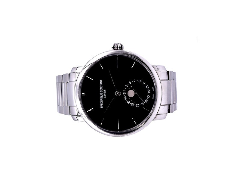 Frederique Constant Stainless-Steel Moon Phase Watch Ref. FC-705X454/5/6 In Excellent Condition For Sale In Scottsdale, AZ