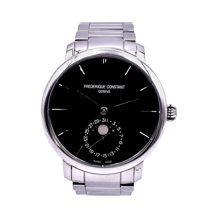 Frederique Constant Stainless-Steel Moon Phase Watch Ref. FC-705X454/5/6 For Sale