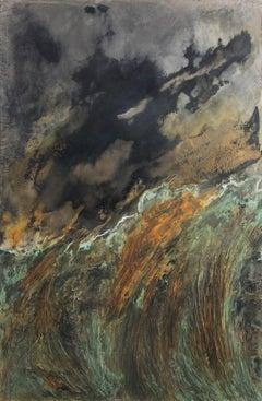 Untitled XVIII-XXVII - Abstract painting on metal leaves