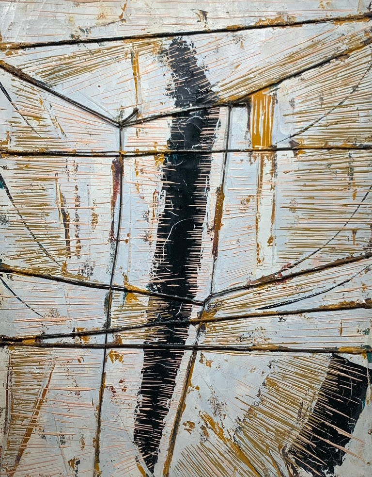 Black Boom w/ Twine (Abstract Expressionist painting) - Painting by Fredric Karoly