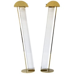 Fredrick Ramond Hollywood Regency Lucite and Brass Floor Lamps