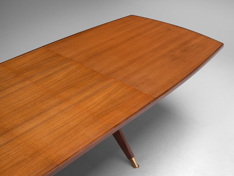 Brass Fredrik A. Kayser 'Captains' Dining Table in Teak For Sale