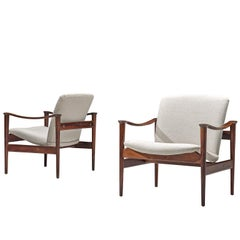 Fredrik A. Kayser Rosewood and Armchairs with White Fabric