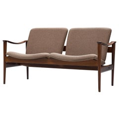 Fredrik A. Kayser Sofa in Rosewood and Fabric