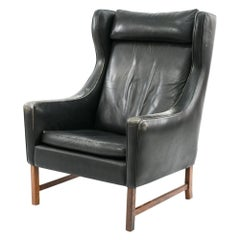 Fredrik Kayser for Vatne Leather and Rosewood Wingback Lounge Chair