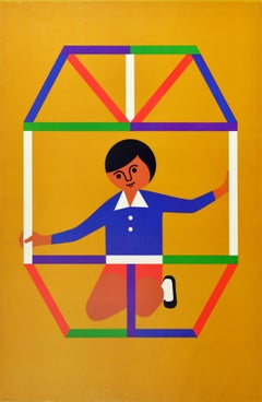Original Vintage Poster Creative Playthings Educational Toys Building Blocks Art