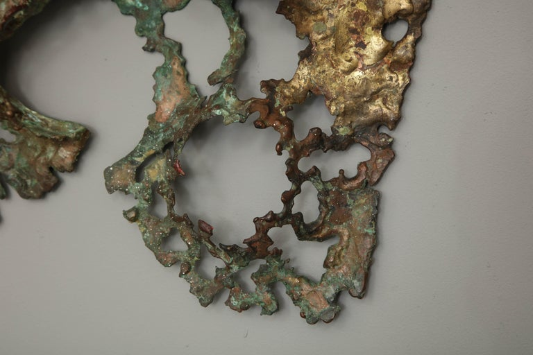 Free-Form Brutalist Wall Sculpture in Unlacquered Brass For Sale 5