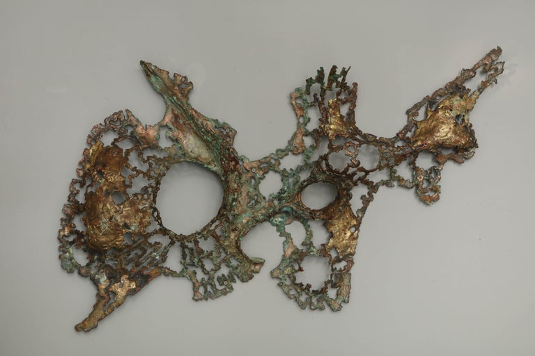 Free-Form Brutalist Wall Sculpture in Unlacquered Brass For Sale 9