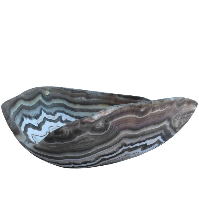 Free-Form Hand-Carved Onyx Bowl