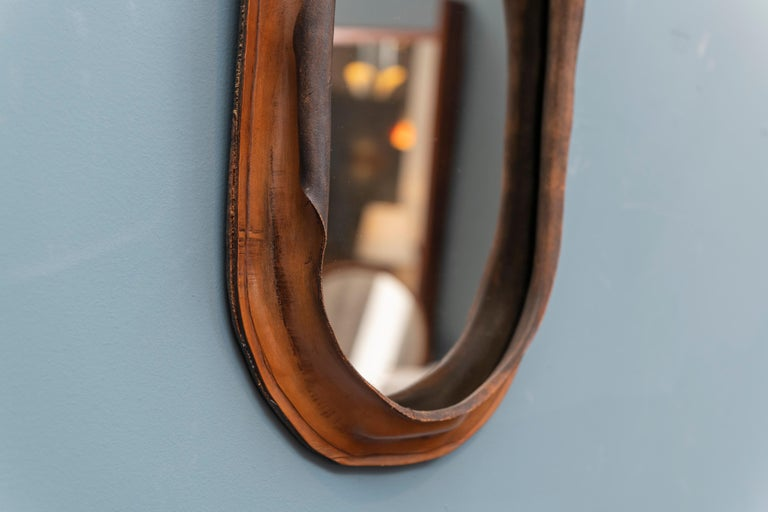 Mid-Century Modern Free Form Leather Wall Mirror For Sale