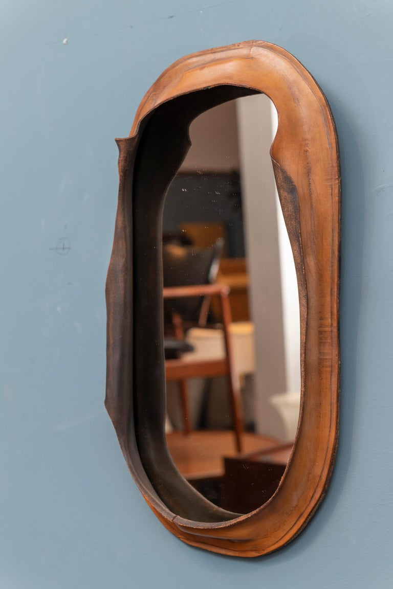 Free Form Leather Wall Mirror In Good Condition For Sale In San Francisco, CA