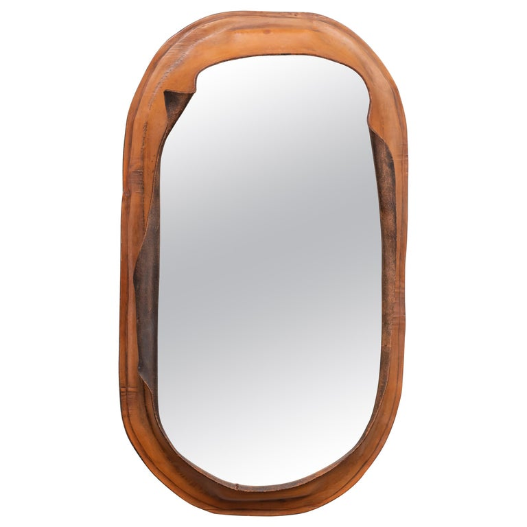 Free Form Leather Wall Mirror For Sale