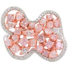 Free Shape Ring Natural Fancy Pink Diamond 18 Karat White Gold