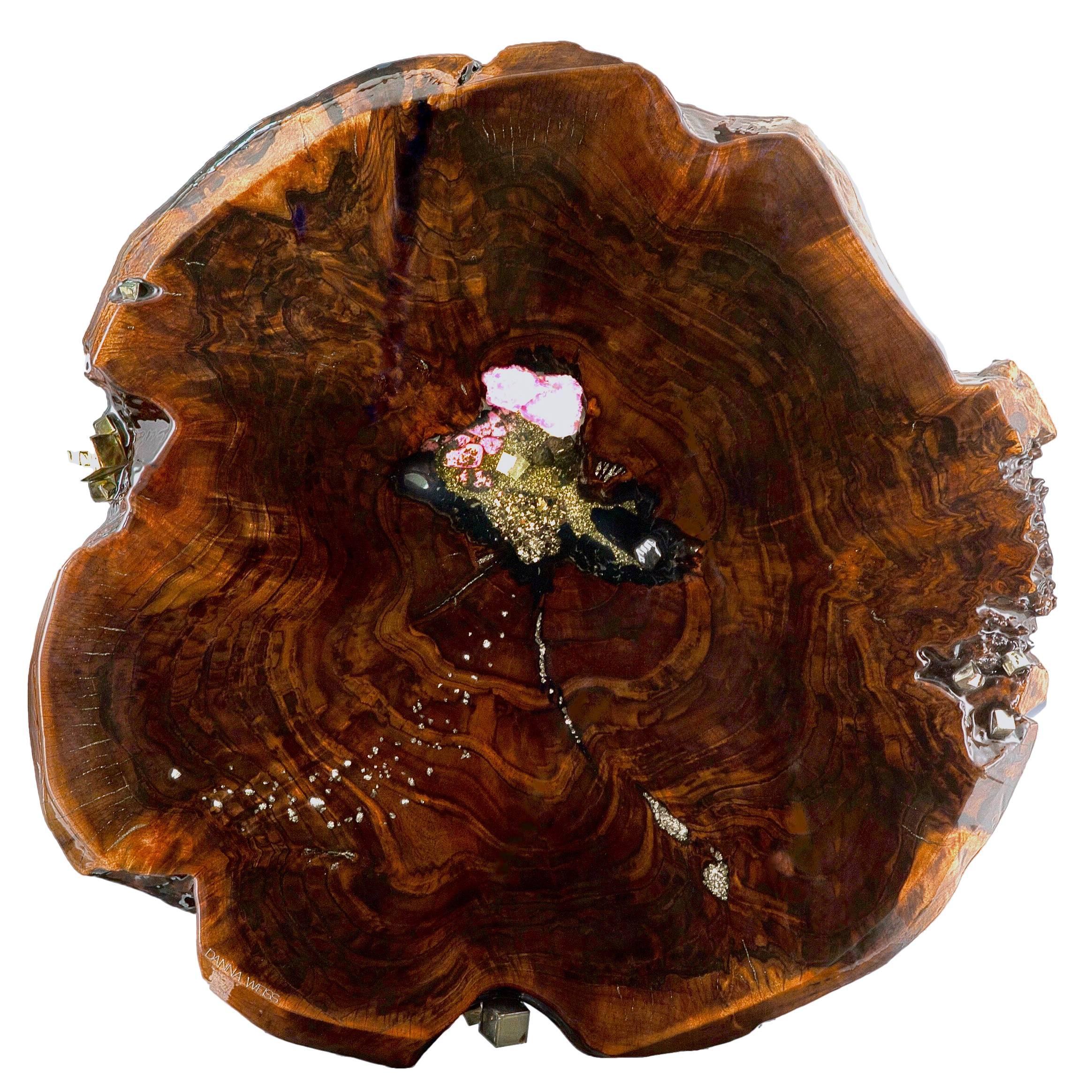 Walnut wood sculpture with gemstone inlay