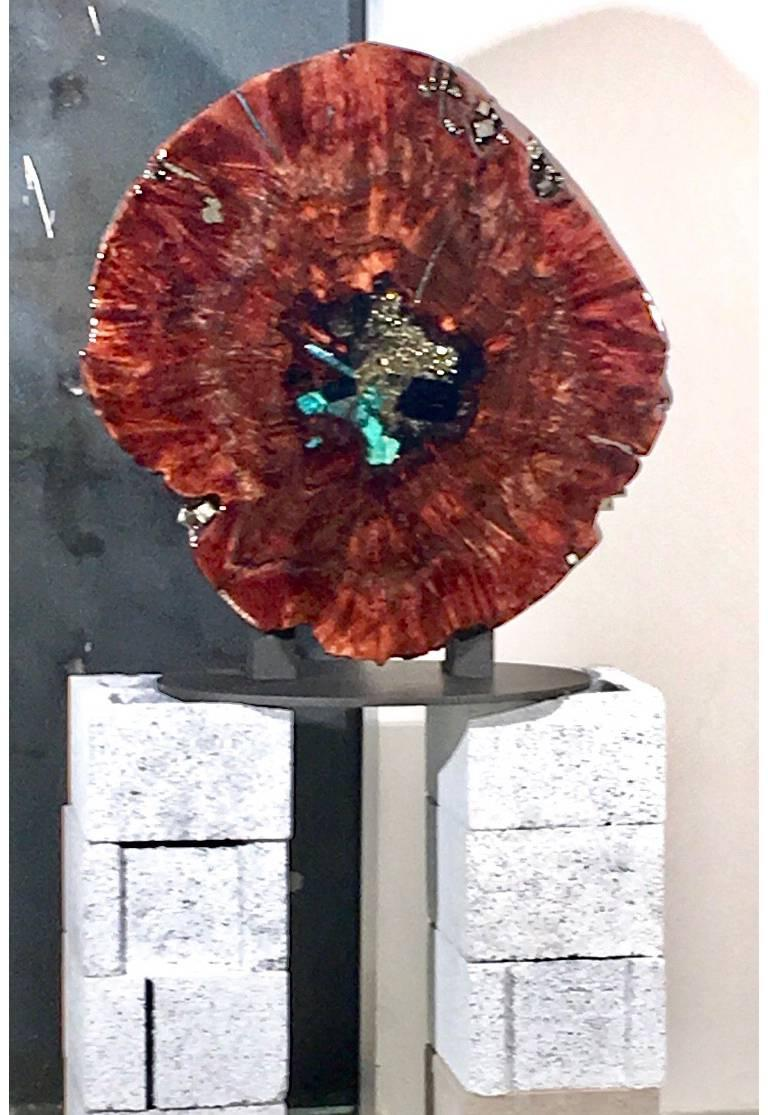 Other Walnut wood sculpture in resin with gemstone inlay