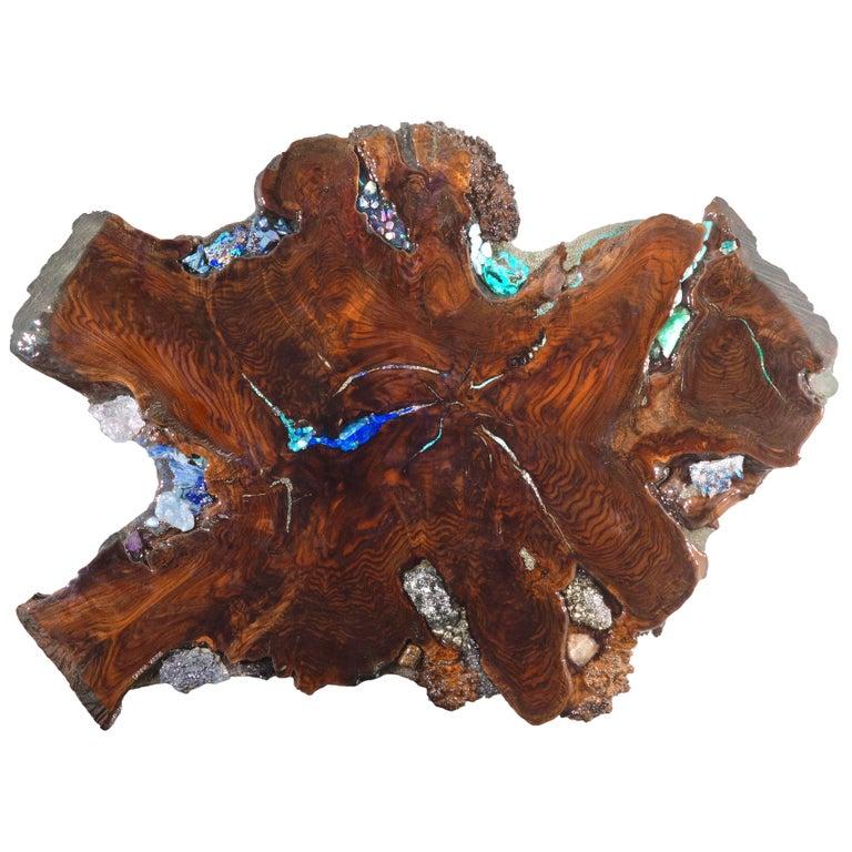 Contemporary Art Sculpture or Coffee Table Claro Walnut with Crystals Gemstones