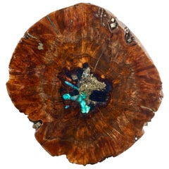 Free Standing Contemporary Art Sculpture, Claro Walnut with Crystals & Gemstones
