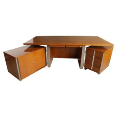 Free-Standing Executive Corner Desk Ico Parisi Style for MIM Roma, Italy, 1960s