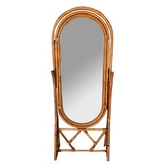 Free Standing Full Length Rattan Floor Mirror by Interlude