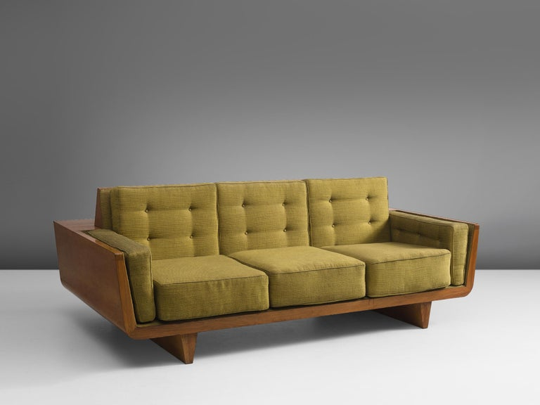 Mid-Century Modern Freestanding Italian Sofa in Walnut For Sale