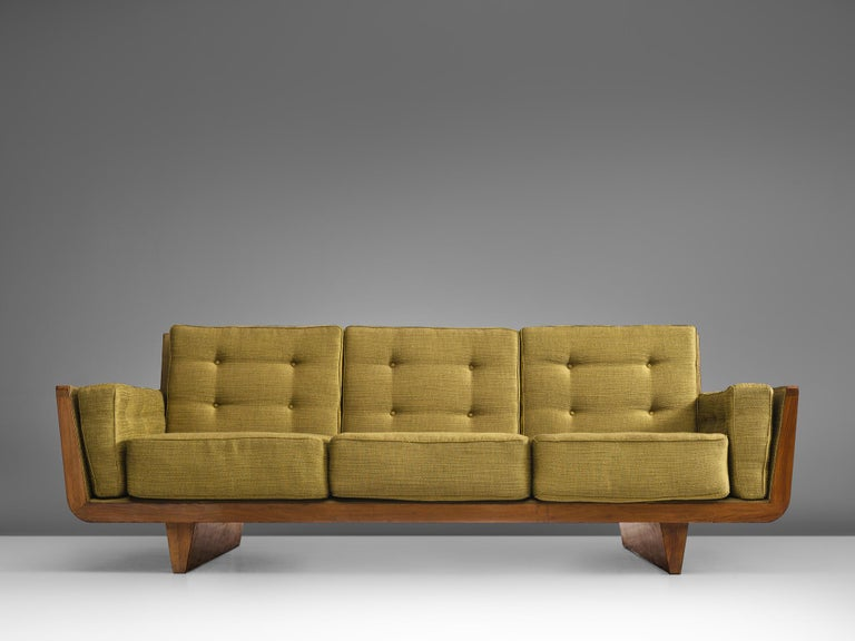 Mid-20th Century Freestanding Italian Sofa in Walnut For Sale