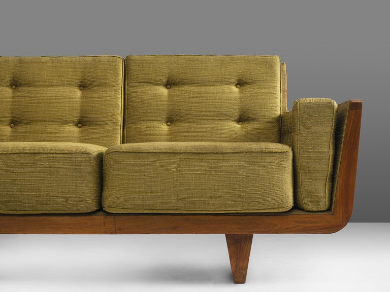 Fabric Freestanding Italian Sofa in Walnut For Sale