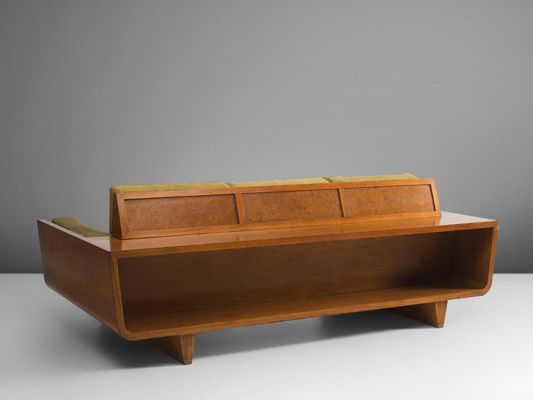 Freestanding Italian Sofa in Walnut For Sale 2