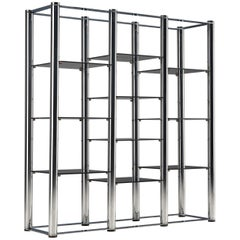 Free-standing Postmodern Bookcase in Chrome and Glass