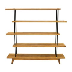 Free Standing Shelf or Étagère in Teak Wood, Brass and Metal, 1950s