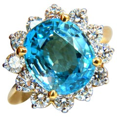 Freedom Indigo Pure Blue Natural Zircon Diamond Ring 10.05 Carat 14 Karat